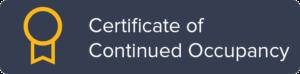 Certificate of Coninued Occupancy